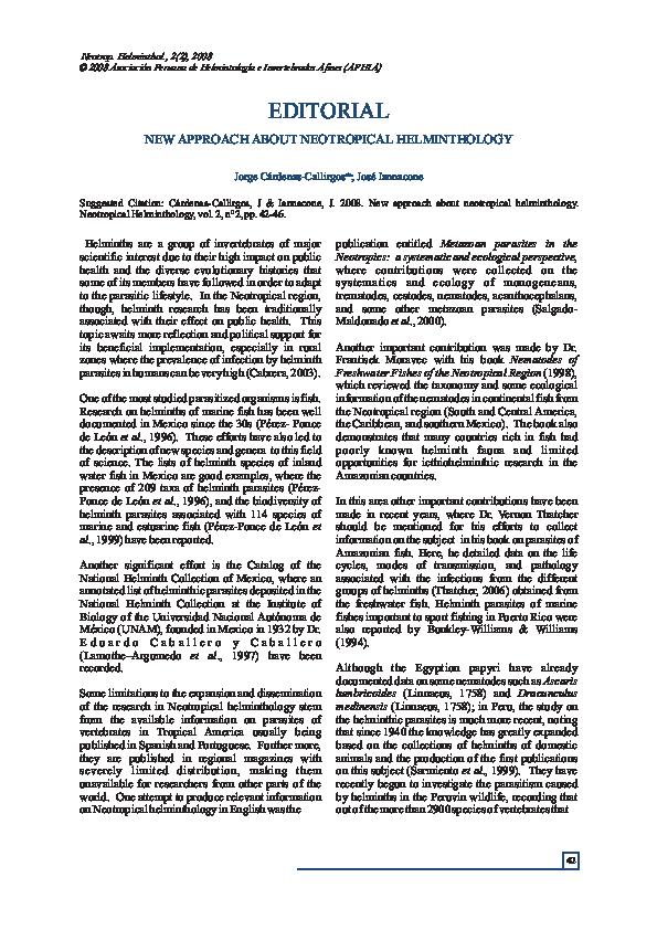 neotropical helminthology 2020