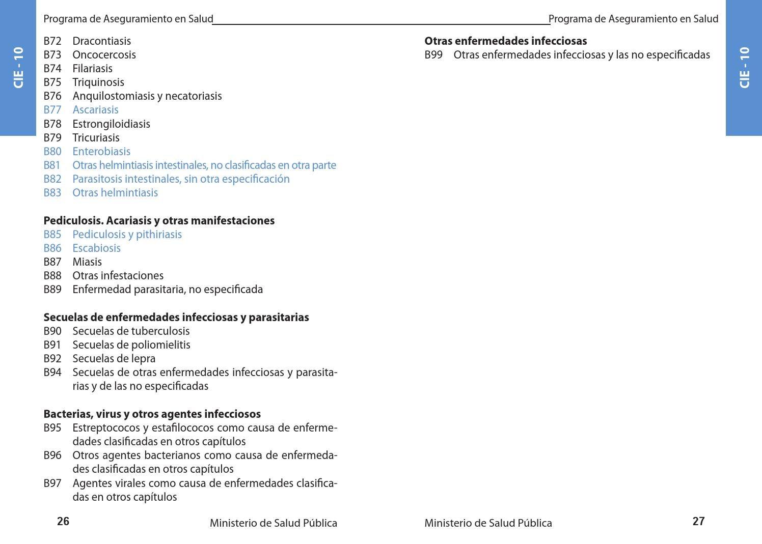 Oxiuros cie 10 Enterobiasis cie 10, ListaTabelara Boli ICD 10 AM