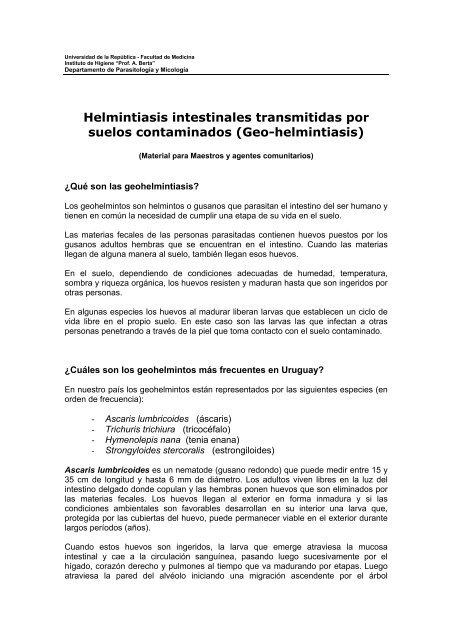 screening pentru infecții cu helmint)
