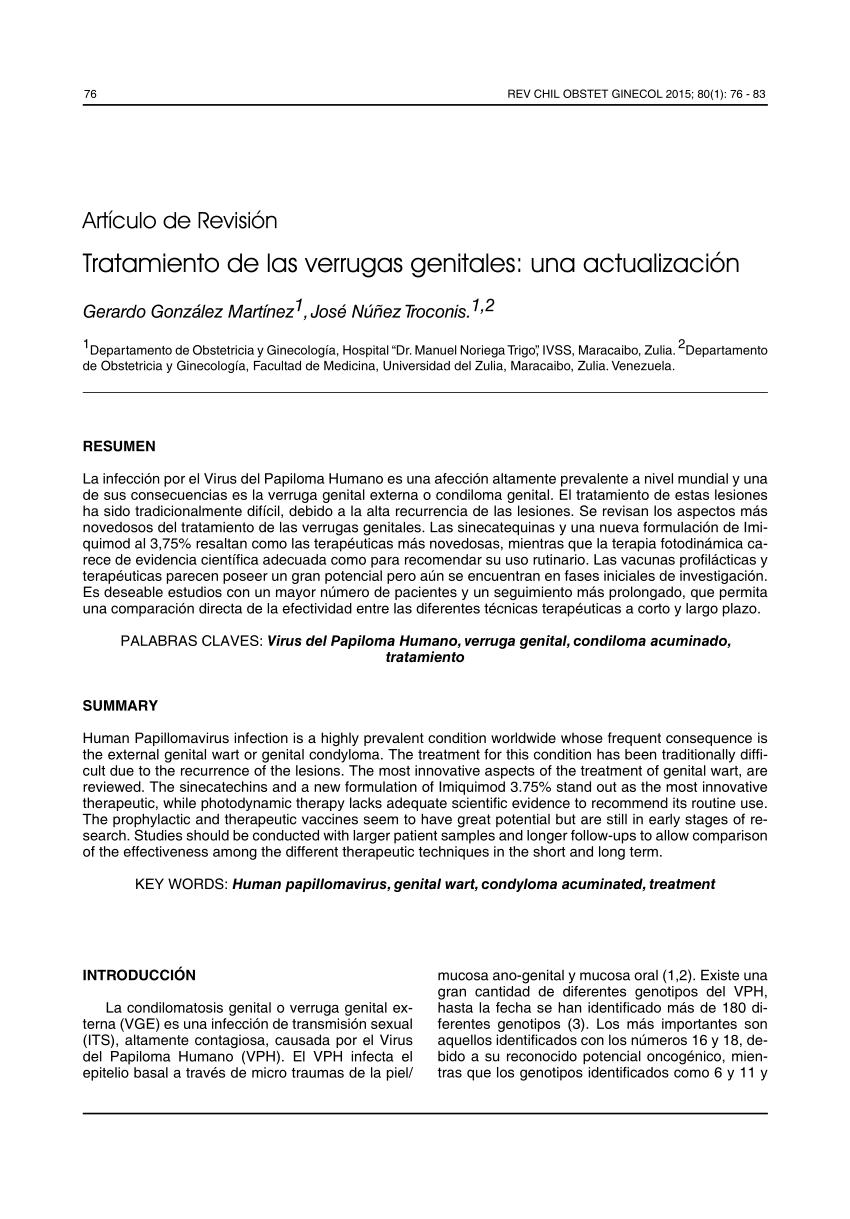 tratamiento papilomatosis genital)