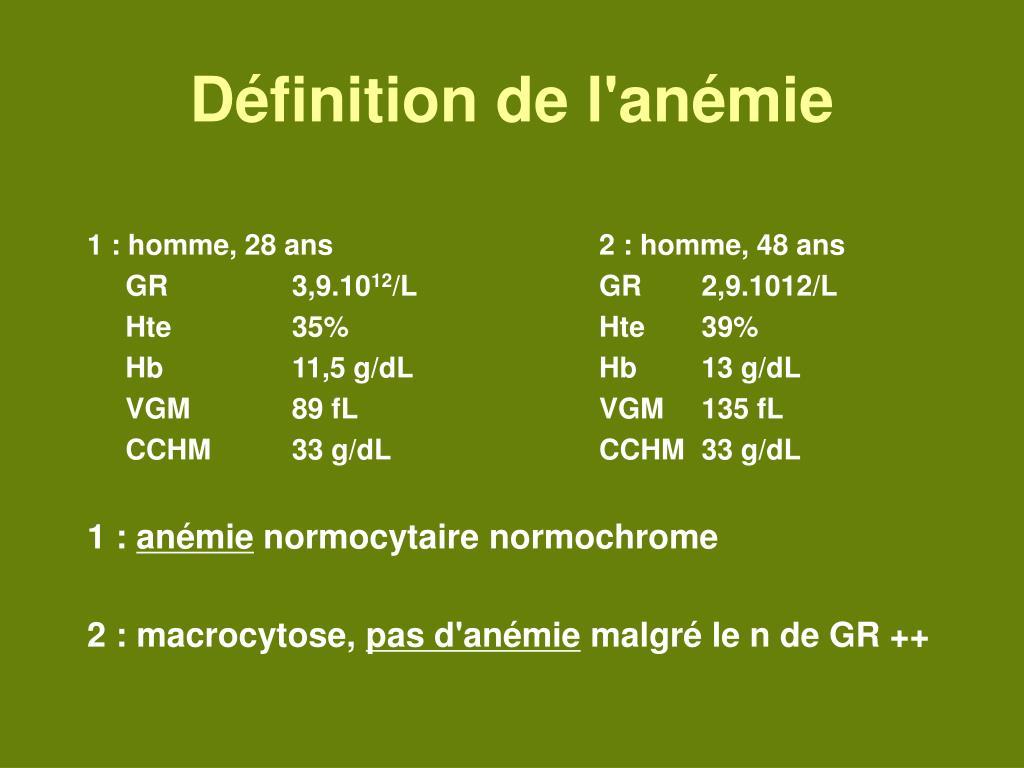 anemie g dl