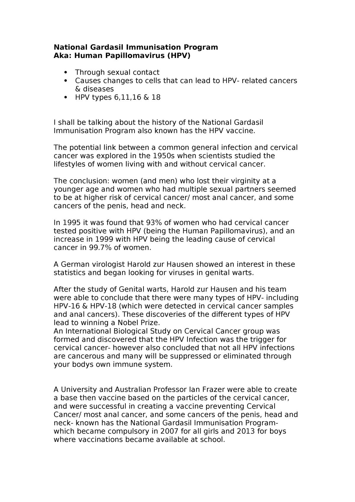 human papillomavirus infection essay